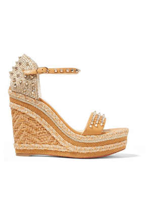 Christian Louboutin - Madmonica 120 Spiked Raffia And Leather Espadrille Wedge Sandals - IT34