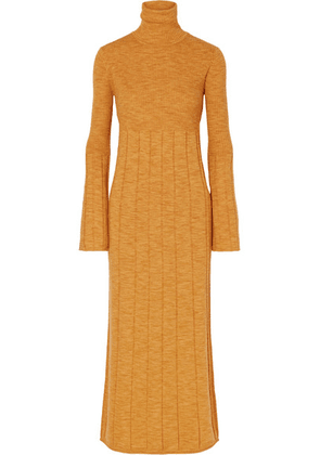 Elizabeth and James - Clementine Ribbed Merino Wool Turtleneck Maxi Dress - Marigold