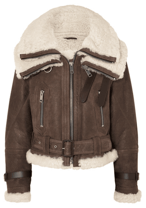 Burberry - Shearling-trimmed Textured-leather Jacket - Brown