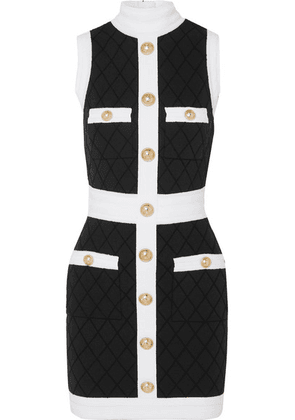 Balmain - Two-tone Button-embellished Stretch-knit Mini Dress - Black