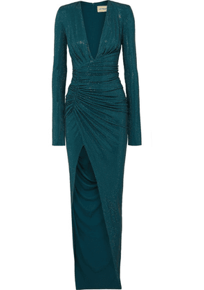 Alexandre Vauthier - Crystal-embellished Ruched Stretch-crepe Gown - Petrol