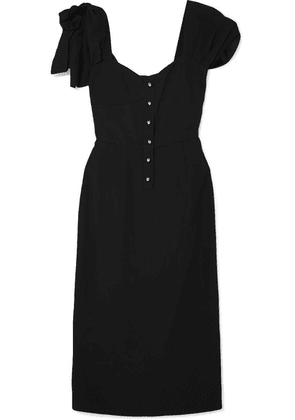 Prada - Bow-embellished Crepe Midi Dress - Black