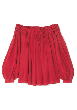 Gabriela Hearst - Otalora Off-the-shoulder Pleated Wool And Cashmere-blend Top - Red