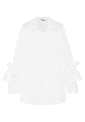 Prada - Bow-embellished Cotton-poplin Shirt - White