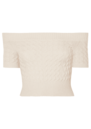 Alexander McQueen - Off-the-shoulder Cable-knit Wool-blend Top - Ivory