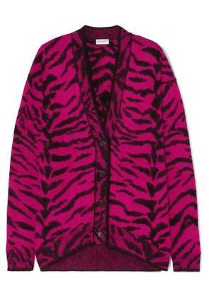 SAINT LAURENT - Zebra-intarsia Wool-blend Cardigan - Pink