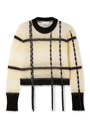 3.1 Phillip Lim - Satin-trimmed Striped Open-knit Sweater - Cream