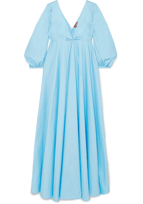 STAUD - Amaretti Pleated Cotton-blend Poplin Maxi Dress - Blue