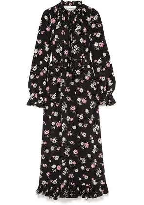 Les Rêveries - Tie-front Ruffled Floral-print Silk-crepe Maxi Dress - Black