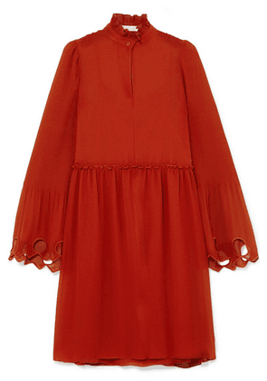 See By Chloé - Ruffled Cutout Georgette Mini Dress - Red