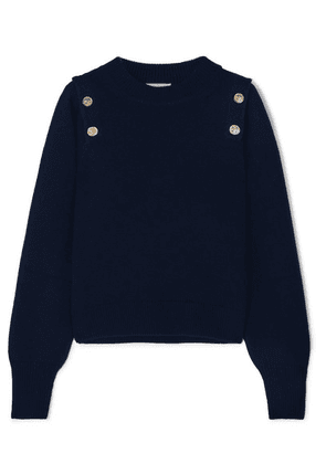 Sonia Rykiel - Button-embellished Wool And Cashmere-blend Sweater - Navy