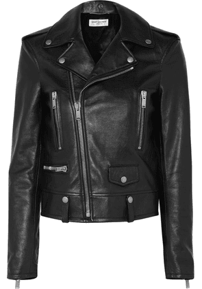 SAINT LAURENT - Printed Leather Biker Jacket - Black