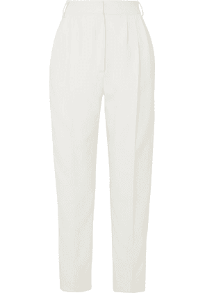 Alexander McQueen - Pleated Crepe And Satin Tapered Pants - Ivory