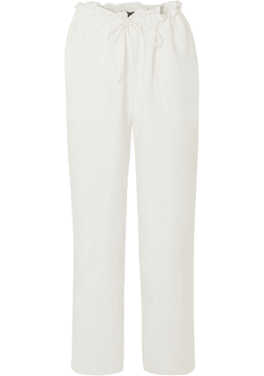 Sally LaPointe - Cropped Cupro Straight-leg Pants - White