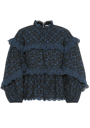 Isa ruffled floral cotton blouse