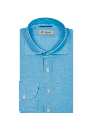 Turquoise Cotton-Linen Gianni Agnelli Polo