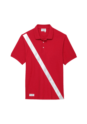 Red Cotton Authentic Polo Shirt with Satin Stripe
