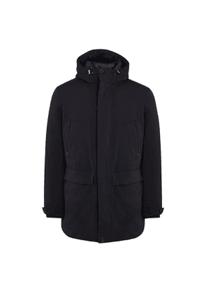 Dark Blue Wool-Mix Gaspard Parka