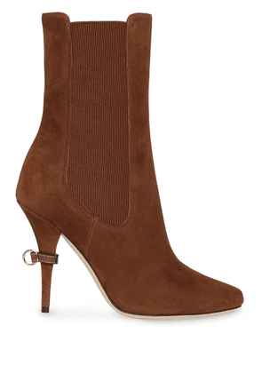 Burberry D-ring Detail Suede Ankle Boots - Brown