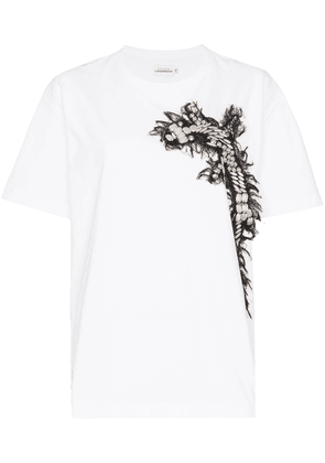 Charles Jeffrey Loverboy embroidered cross appliqué T-shirt - White