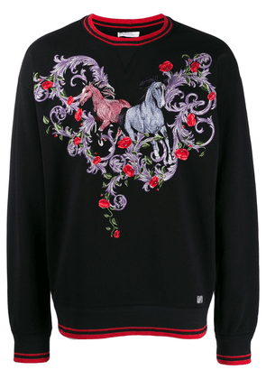 Versace Collection embroidered horse motif sweatshirt - Black