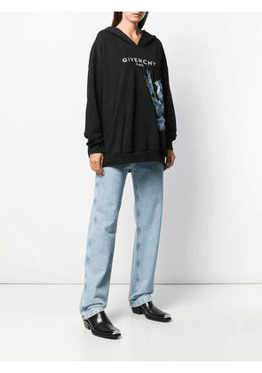 Givenchy birds embroidery hoodie - Black