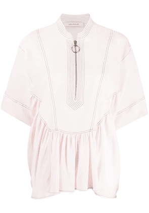Cédric Charlier short-sleeve flared top - Pink