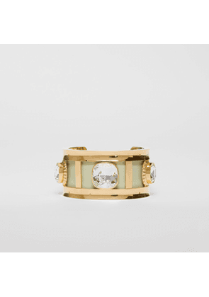 Burberry Crystal Detail Lambskin and Gold-plated Cuff, Green