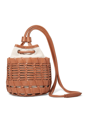 HEREU - Siana Leather And Organic Cotton-canvas Bucket Bag - Brown