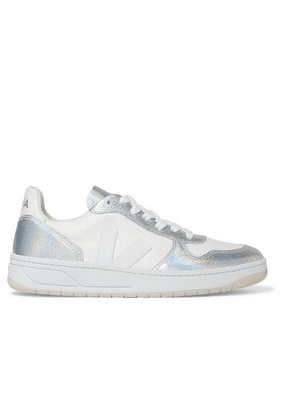Veja - + Net Sustain V-10 Iridescent Metallic Leather And Canvas Sneakers - White
