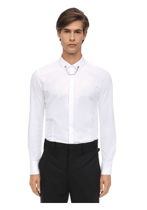 Cotton Poplin Shirt W/ Detachable Chain