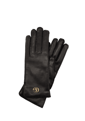 Gg Maya Embossed Leather Gloves