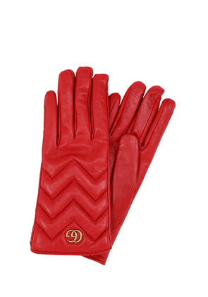 Gg Marmont Embossed Leather Gloves