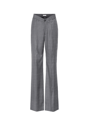 Checked wool and silk pants