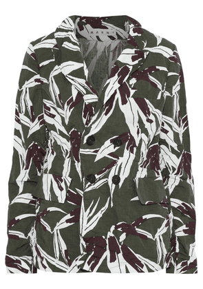 Marni Double-breasted Printed Crinkled Cotton And Linen-blend Blazer Woman Army green Size 40