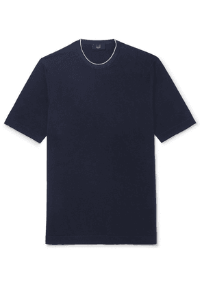 Dunhill - Slim-fit Silk-trimmed Knitted Cotton T-shirt - Navy