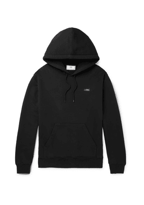 AMI - Logo-embroidered Loopback Cotton-jersey Hoodie - Black