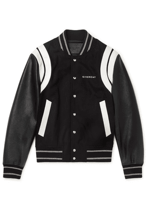 Givenchy - Logo-print Leather And Wool Bomber Jacket - Black