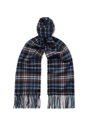 Johnstons of Elgin - Fringed Checked Cashmere Scarf - Navy
