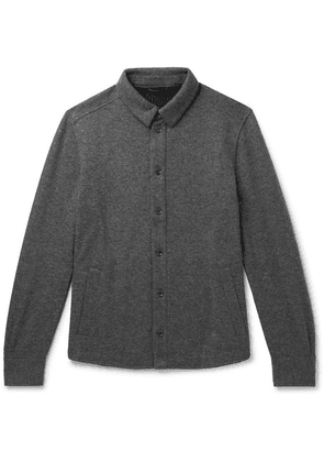 Loro Piana - Suede-trimmed Mélange Cashmere-blend Overshirt - Gray