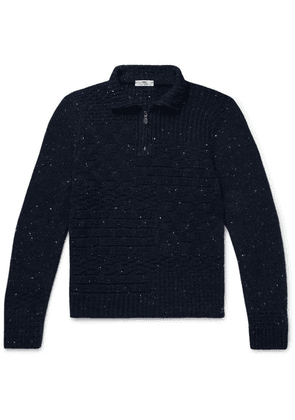 Inis Meáin - Donegal Merino Wool And Cashmere-blend Half-zip Sweater - Navy