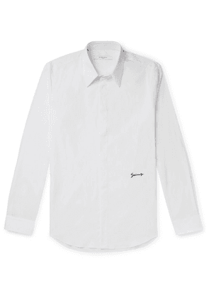 Givenchy - Slim-fit Logo-embroidered Cotton-blend Poplin Shirt - White