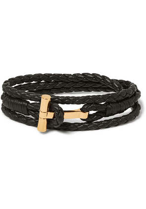TOM FORD - Woven Leather And Gold-tone Wrap Bracelet - Brown