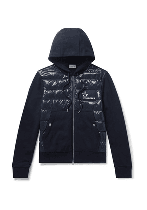 Moncler - Panelled Cotton-jersey And Quilted Shell Down Zip-up Hoodie - Navy