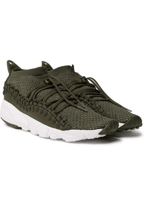 Nike - Air Footscape Woven Chukka Leather And Flyknit Sneakers - Green