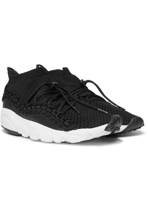 Nike - Air Footscape Woven Chukka Leather And Flyknit Sneakers - Black
