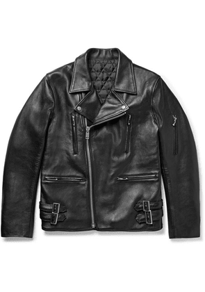 Blackmeans - Slim-fit Leather Biker Jacket - Black