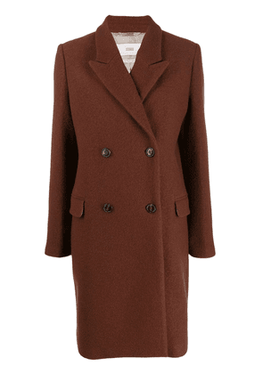 Closed double-breasted midi coat - Brown