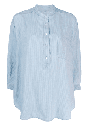 Closed grandad collar tunic shirt - Blue