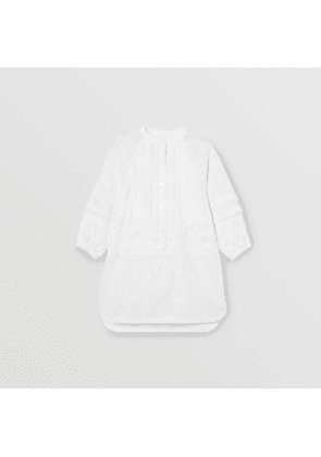 Burberry Childrens Pleated Bib Fil Coupé Cotton Shirt Dress, Size: 10Y, White